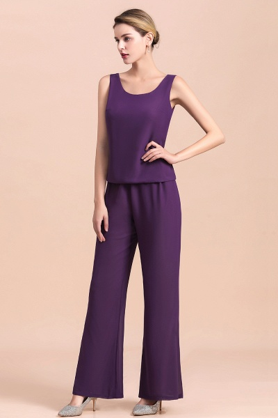 Straps Beading Grape Chiffon Long Sleeve Mother of Bride Jumpsuit With Wrap_11