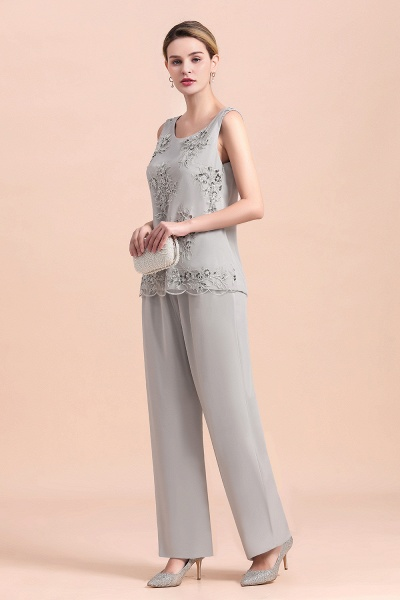 Glamorous Appliques Sleeveless Silver Chiffon Mother of Bride Jumpsuit With Wrap_8