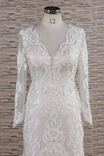 Chic Long Sleeve Appliques Mermaid Wedding Dress_4