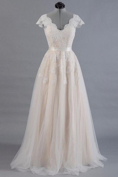 Cute Cap Sleeve V-neck Lace Tulle Wedding Dress_1