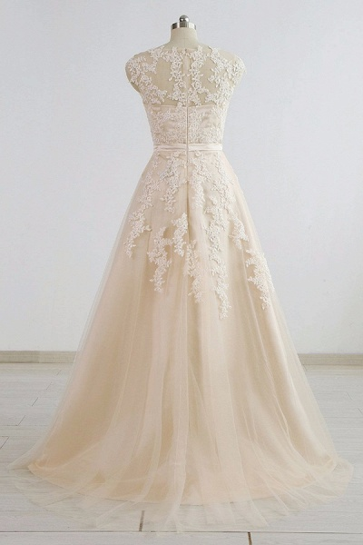 Chic V-neck Appliques A-line Tulle Wedding Dress_3