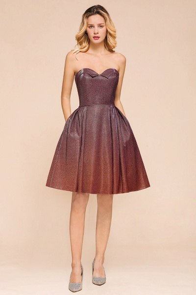 Ombre Sweetheart Backless Short A Line Prom Dress_6