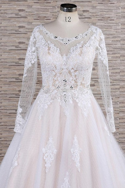 Illusion Appliques Long Sleeve Tulle Wedding Dress_5