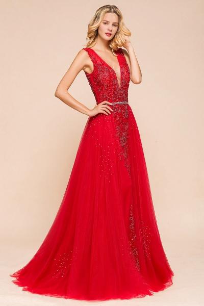 Detachable Deep V-Neck Sleeveless Beadings Tulle Prom Dress_6