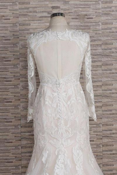 Chic Long Sleeve Appliques Mermaid Wedding Dress_5