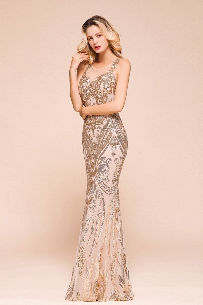 Amazing Illusion Sequins Tulle Mermaid Prom Dress_4