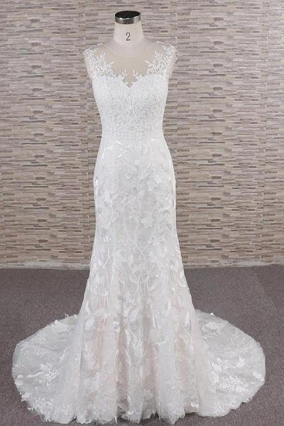 Elegant Lace Appliques Tulle Mermaid Wedding Dress_1