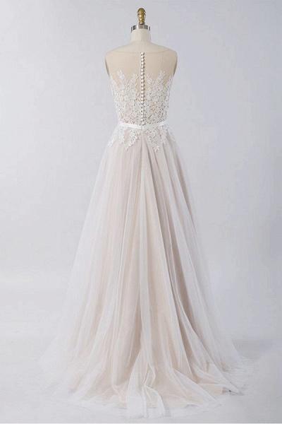 Floor Length Appliques A-line Tulle Wedding Dress_3