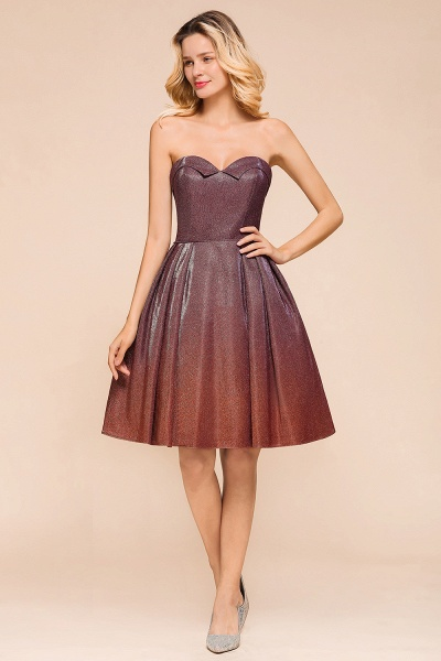 Ombre Sweetheart Backless Short A Line Prom Dress_5