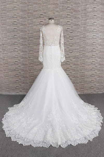 Graceful Appliques Long Sleeve Mermaid Wedding Dress_3