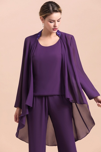 Straps Beading Grape Chiffon Long Sleeve Mother of Bride Jumpsuit With Wrap_5