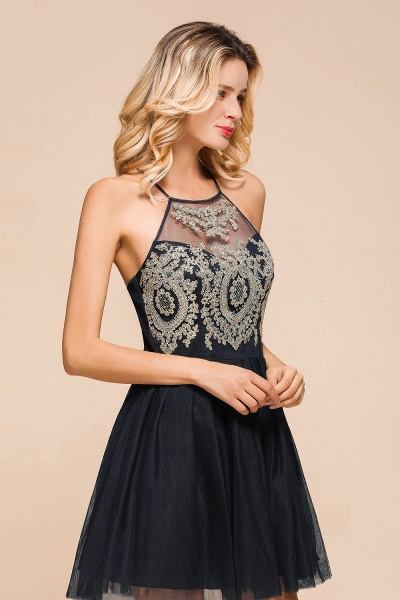 Sweet Halter Appliques Short A Line Prom Dress_9