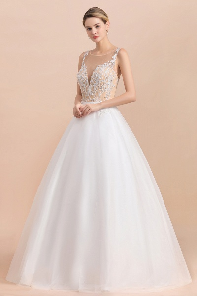 Graceful Illusion Lace Tulle A-line Wedding Dress_4