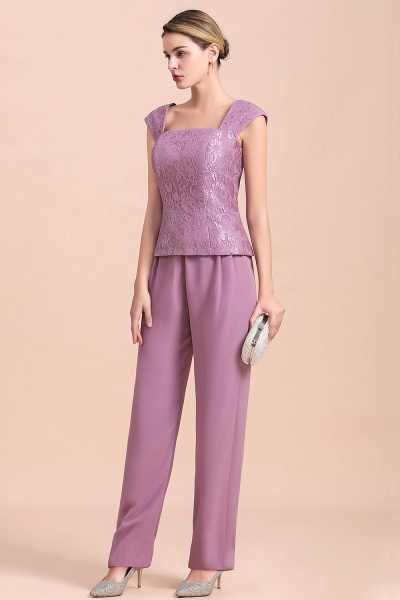 Elegant Lace Cap Sleeves Chiffon Mother of Bride Jumpsuit With Wrap_9