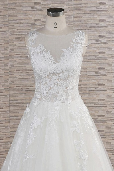 Eye-catching Applqiues Tulle A-line Wedding Dress_5