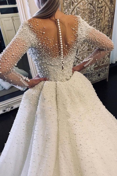 Precious Long Sleeve Beading Sheath Wedding Dress_2
