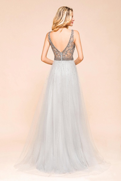 Latest Beading V-Neck Tulle Floor Length Prom Dress_3
