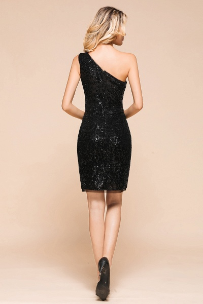 Latest One Shoulder Sequins Sheath Prom Dress_3