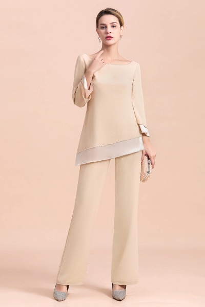Chic Champagne Chiffon Long Sleeve Mother of Bride Jumpsuit_8