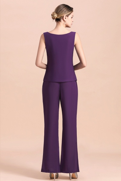 Straps Beading Grape Chiffon Long Sleeve Mother of Bride Jumpsuit With Wrap_13