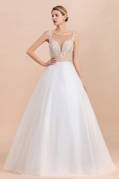 Graceful Illusion Lace Tulle A-line Wedding Dress_6