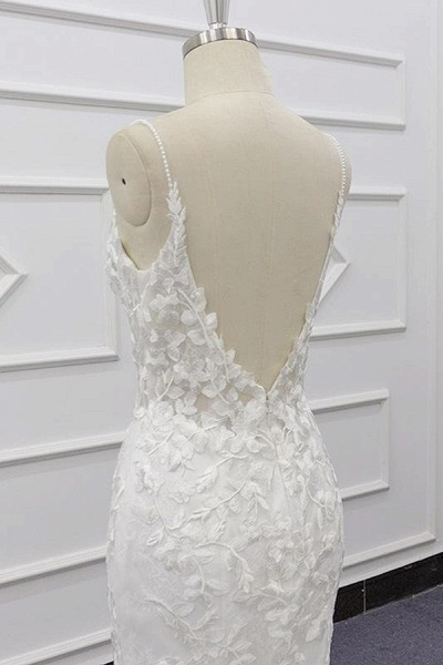 Best Spaghetti Strap Appliques Mermaid Wedding Dress_8