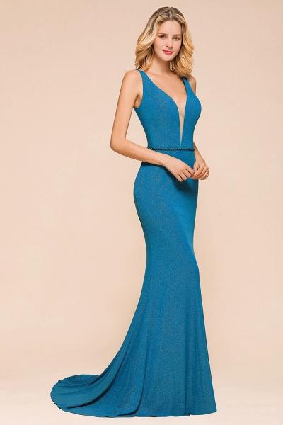 Elegant Open Back V-neck Long Mermaid Prom Dress_6