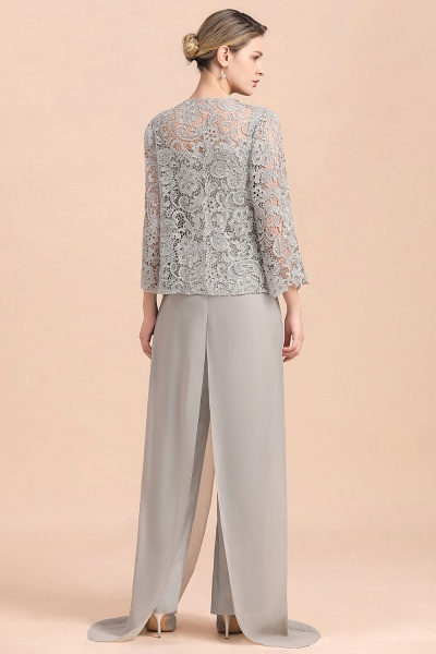 Chic Silver Lace Chiffon Long Sleeve Mother of Bride Jumpsuit With Wrap_3