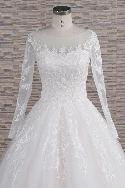 Graceful Appliques Long Sleeve A-line Wedding Dress_5