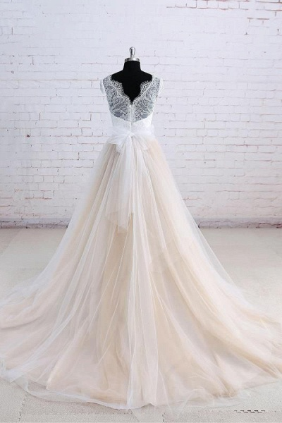 Cute Bow Lace V-neck Tulle A-line Wedding Dress_3