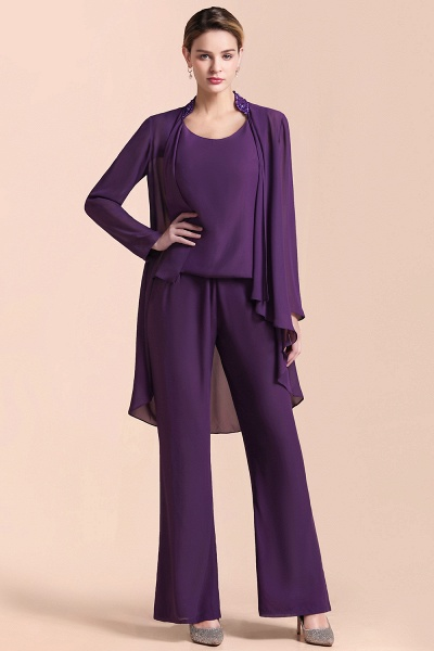 Straps Beading Grape Chiffon Long Sleeve Mother of Bride Jumpsuit With Wrap_4