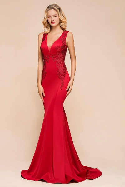 Stunning V-neck Lace Appliques Mermaid Prom Dress_9