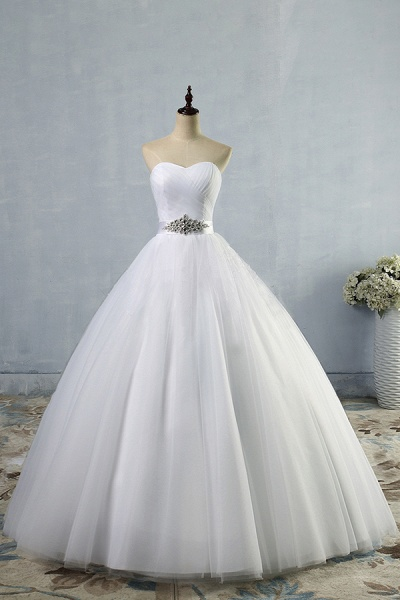 Simple Ruffle Strapless Tulle A-line Wedding Dress_1