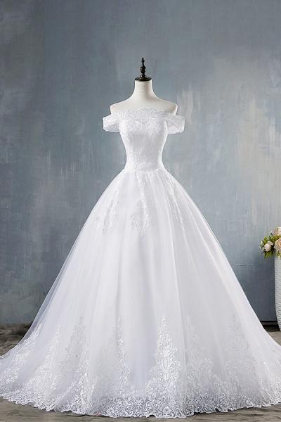 Elegant Appliques Lace Tulle A-line Wedding Dress_1