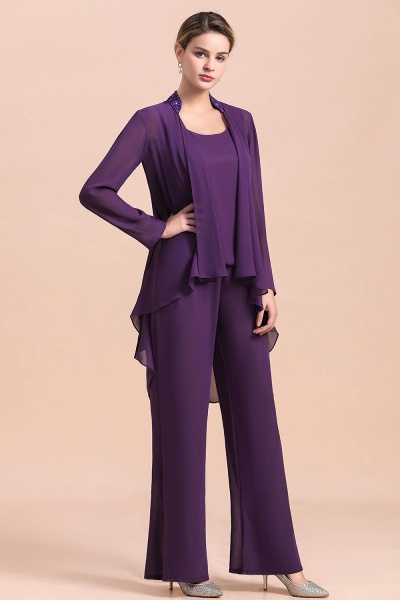 Straps Beading Grape Chiffon Long Sleeve Mother of Bride Jumpsuit With Wrap_6