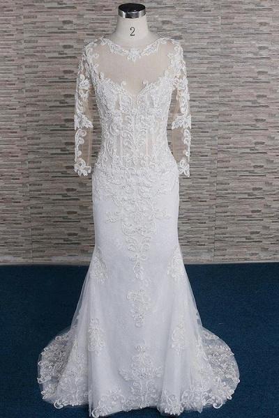 Beading Appliques Long Sleeve Mermaid Wedding Dress_1