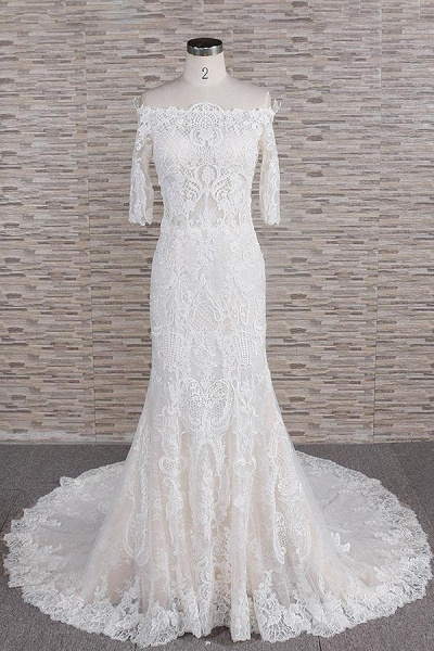 Awesome Appliques Court Train Mermaid Wedding Dress_1