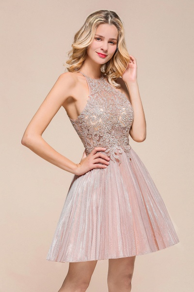 Cute Pleated Lace Appliques A-line Short Prom Dress_4
