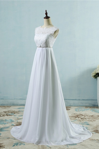 Chic A-line Lace Chiffon Floor Length Wedding Dress_4