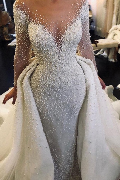 Precious Long Sleeve Beading Sheath Wedding Dress_1
