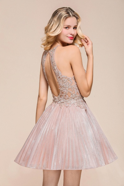 Cute Pleated Lace Appliques A-line Short Prom Dress_8