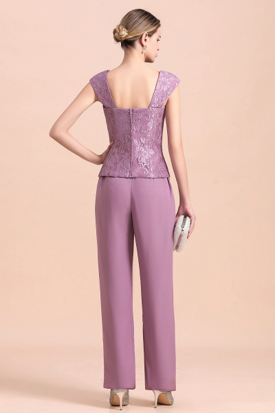 Elegant Lace Cap Sleeves Chiffon Mother of Bride Jumpsuit With Wrap_11