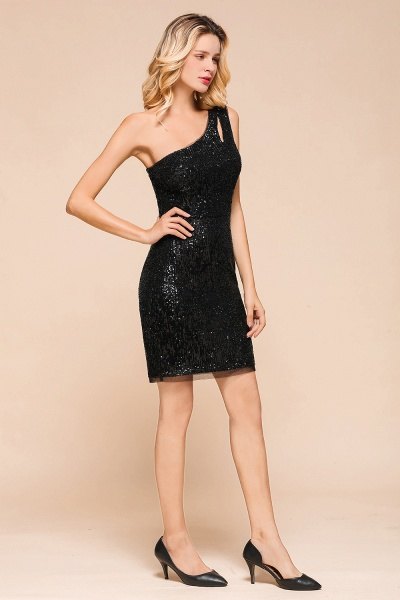 Latest One Shoulder Sequins Sheath Prom Dress_6