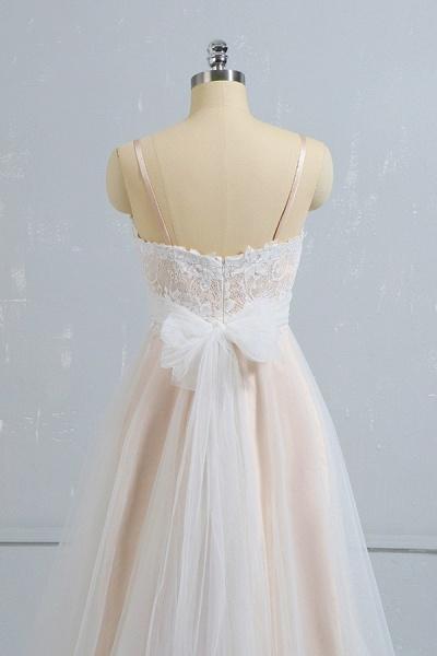 Cute Spaghetti Strap Lace A-line Wedding Dress_5