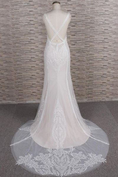 Latest V-neck Appliques Tulle Mermaid Wedding Dress_3