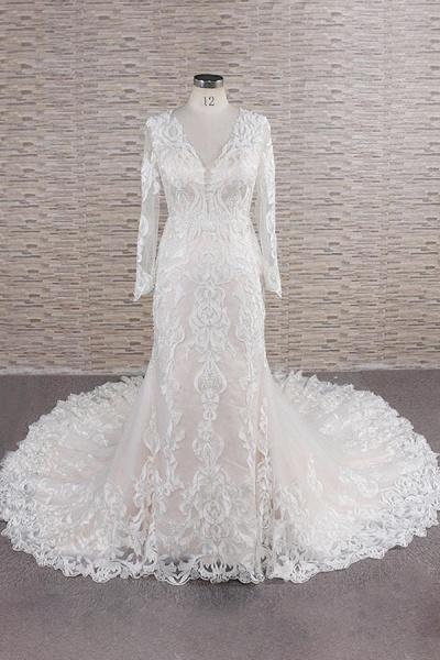 Chic Long Sleeve Appliques Mermaid Wedding Dress_1