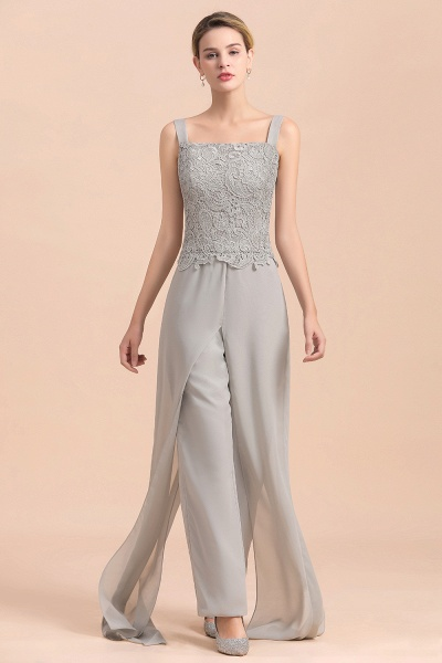 Chic Silver Lace Chiffon Long Sleeve Mother of Bride Jumpsuit With Wrap_10