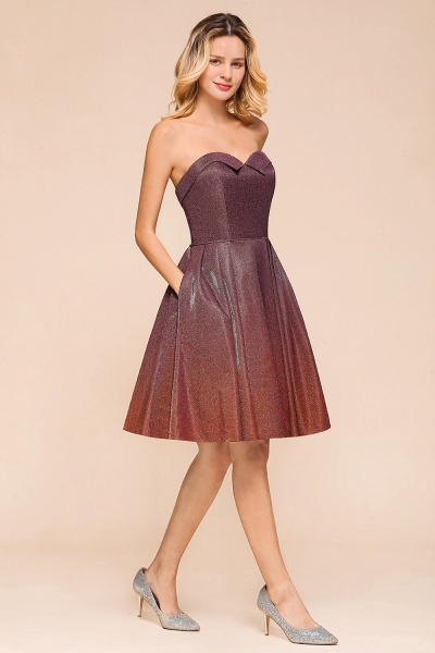 Ombre Sweetheart Backless Short A Line Prom Dress_7