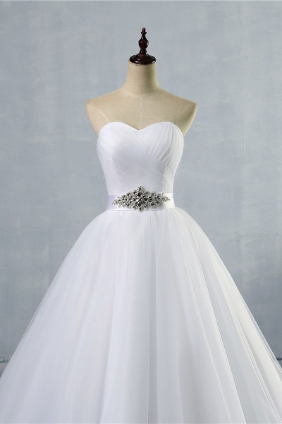 Simple Ruffle Strapless Tulle A-line Wedding Dress_3