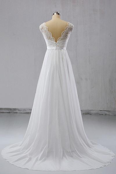 V-neck Lace Chiffon Flowy A-line Wedding Dress_3
